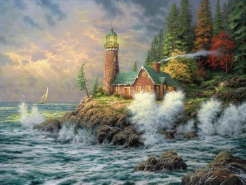 Landschaft Werke - Mut Thomas Kinkade Lighthouse Seekuh